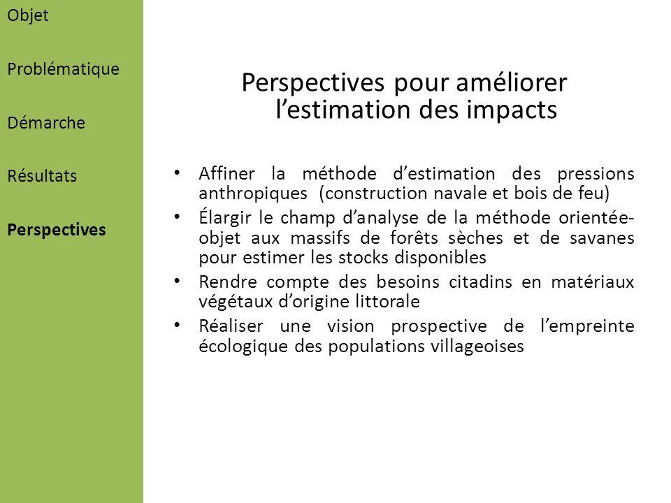 Perspectives pour améliorer l'estimation des impacts