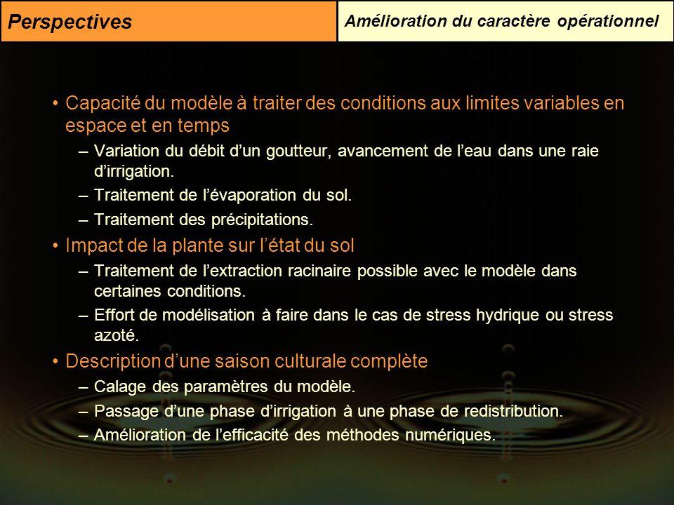 Perspectives Amélioration du caractère opérationnel. Capacité du modèle à traiter des conditions aux limites variables en espace et en temps.