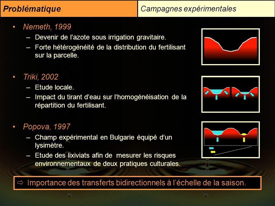 Problématique Campagnes expérimentales Nemeth, 1999 Triki, 2002