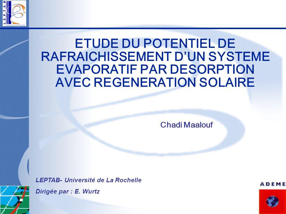 ETUDE DU POTENTIEL DE RAFRAICHISSEMENT D'UN SYSTEME EVAPORATIF PAR DESORPTION AVEC REGENERATION SOLAIRE