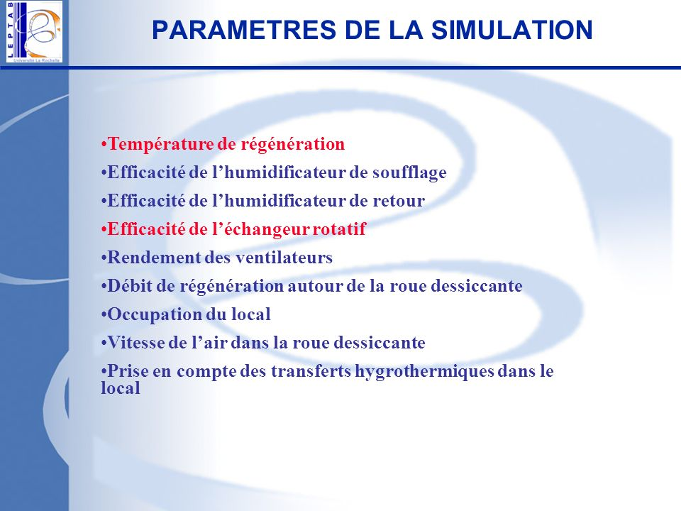 PARAMETRES DE LA SIMULATION