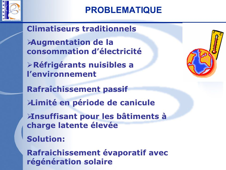 PROBLEMATIQUE Climatiseurs traditionnels