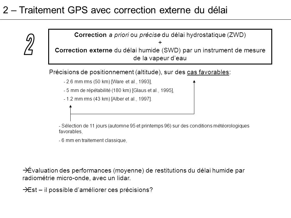 Correction a priori ou précise du délai hydrostatique (ZWD)