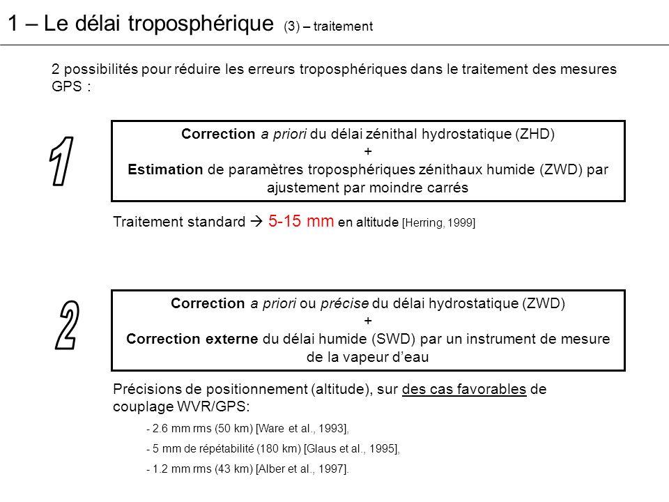 1 2 1 – Le délai troposphérique (3) – traitement