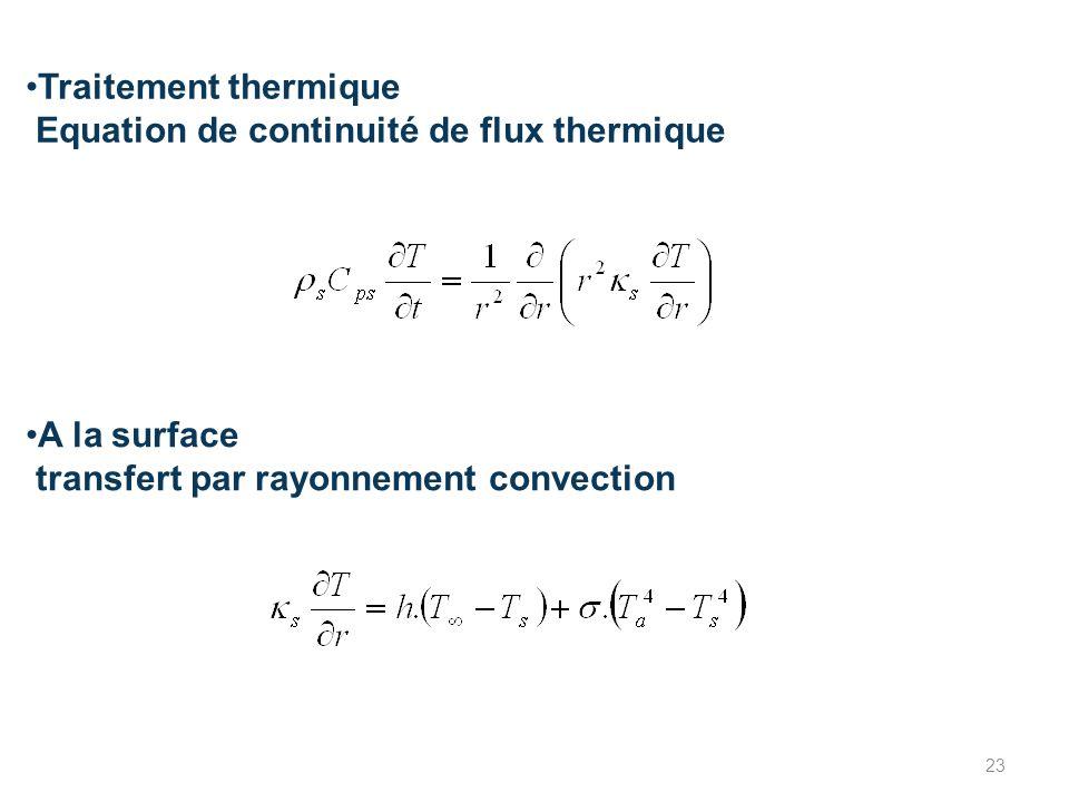 Traitement thermique Equation de continuité de flux thermique