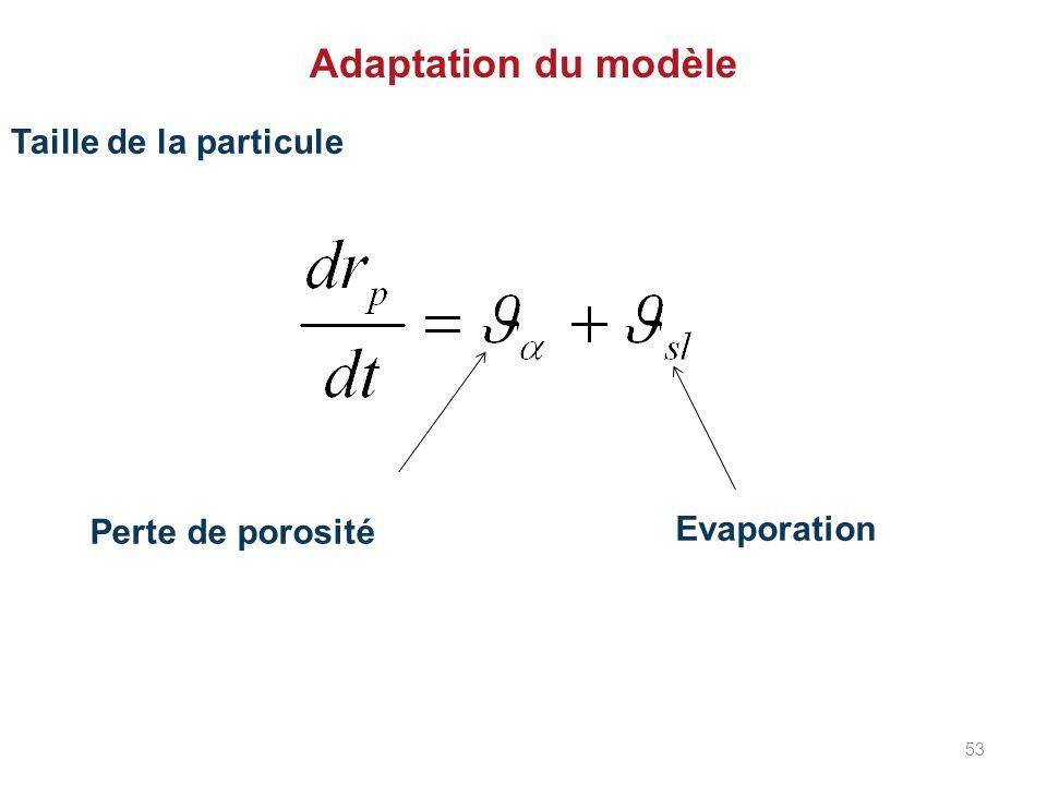 Adaptation du modèle Taille de la particule Perte de porosité