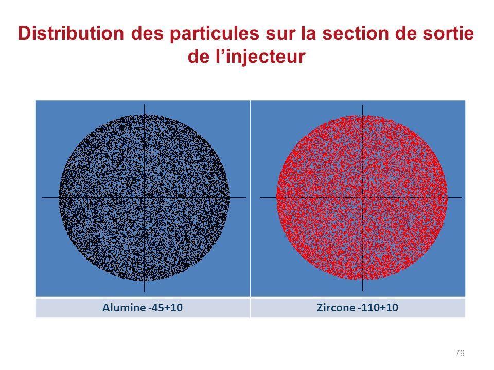 Distribution des particules sur la section de sortie de l'injecteur
