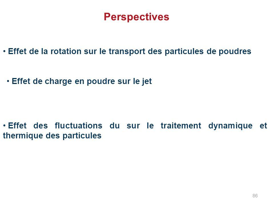 Perspectives Effet de la rotation sur le transport des particules de poudres. Effet de charge en poudre sur le jet.