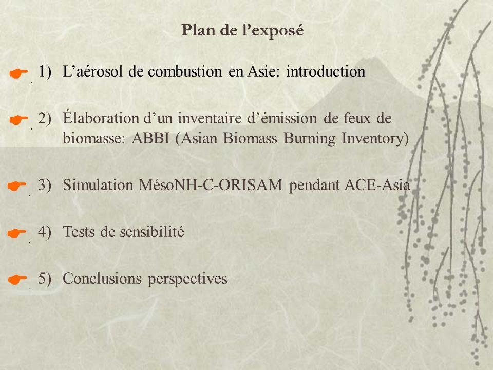 Plan de l'exposé L'aérosol de combustion en Asie: introduction