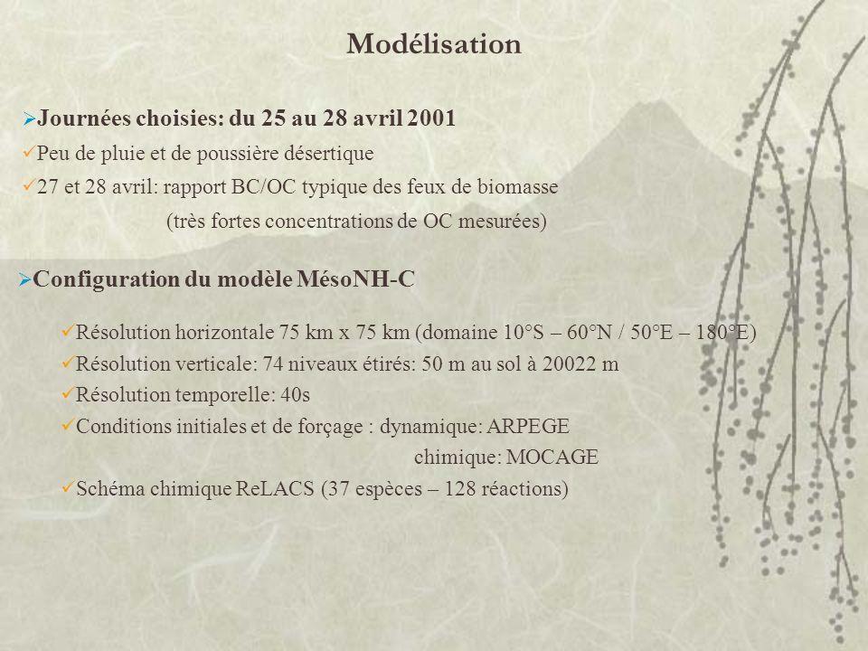 Modélisation Journées choisies: du 25 au 28 avril 2001