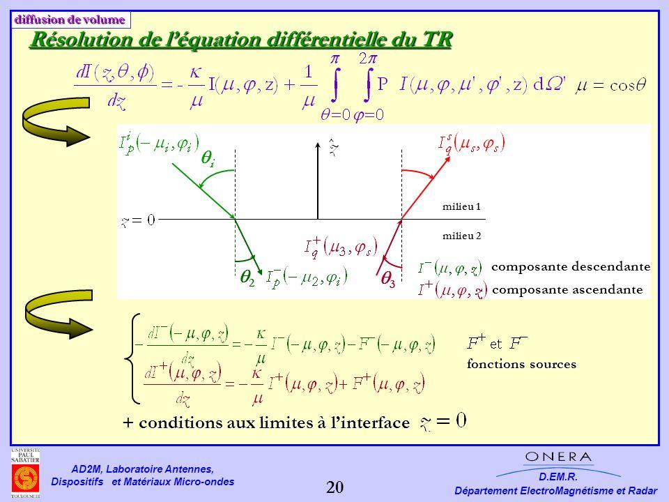 Résolution de l'équation différentielle du TR