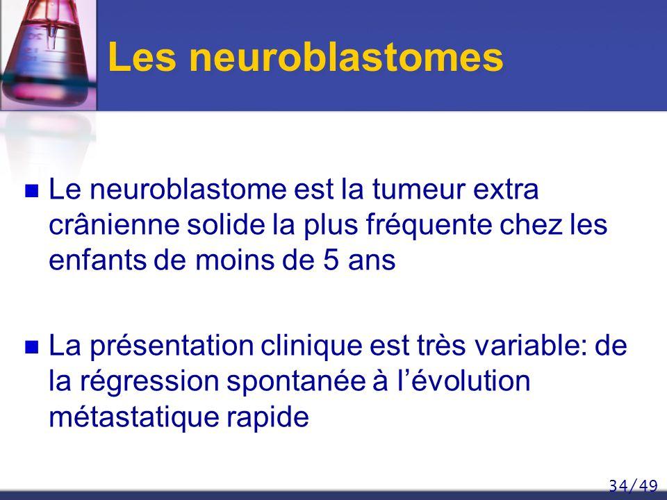 Les neuroblastomes Le neuroblastome est la tumeur extra crânienne solide la plus fréquente chez les enfants de moins de 5 ans.