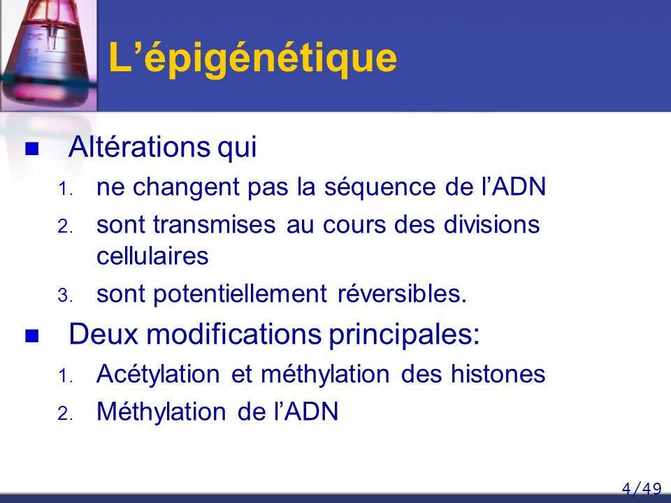 L'épigénétique Altérations qui Deux modifications principales: