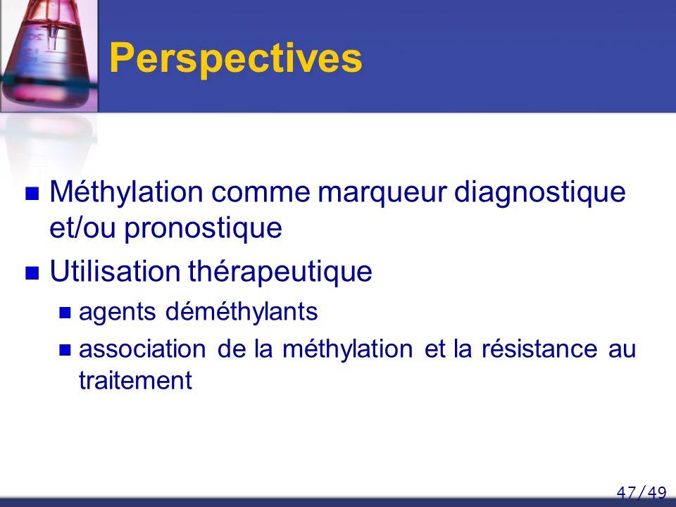 Perspectives Méthylation comme marqueur diagnostique et/ou pronostique
