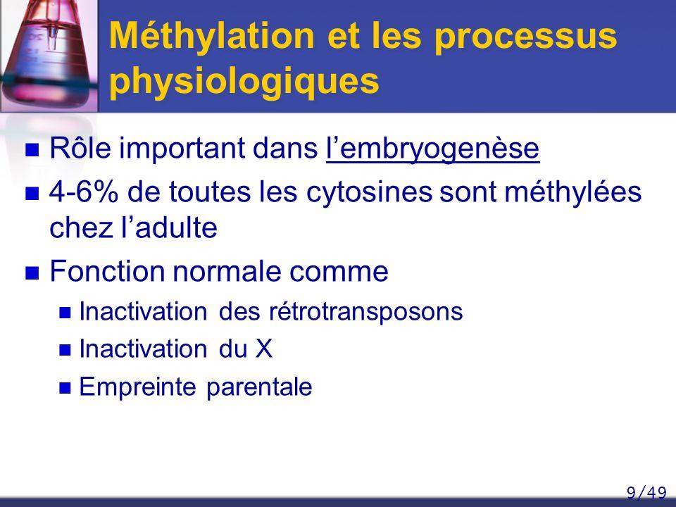 Méthylation et les processus physiologiques