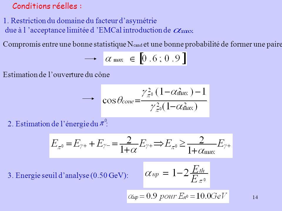 Conditions réelles : 1. Restriction du domaine du facteur d'asymétrie. due à l 'acceptance limitée d 'EMCal introduction de.