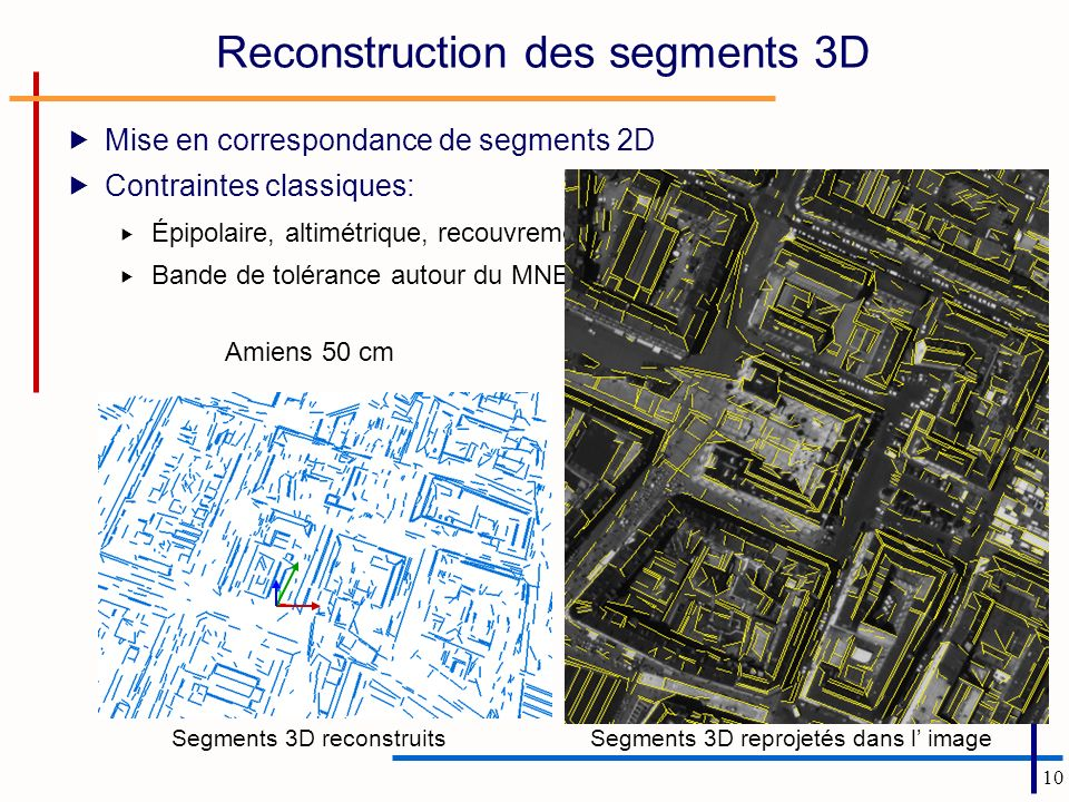 Reconstruction des segments 3D