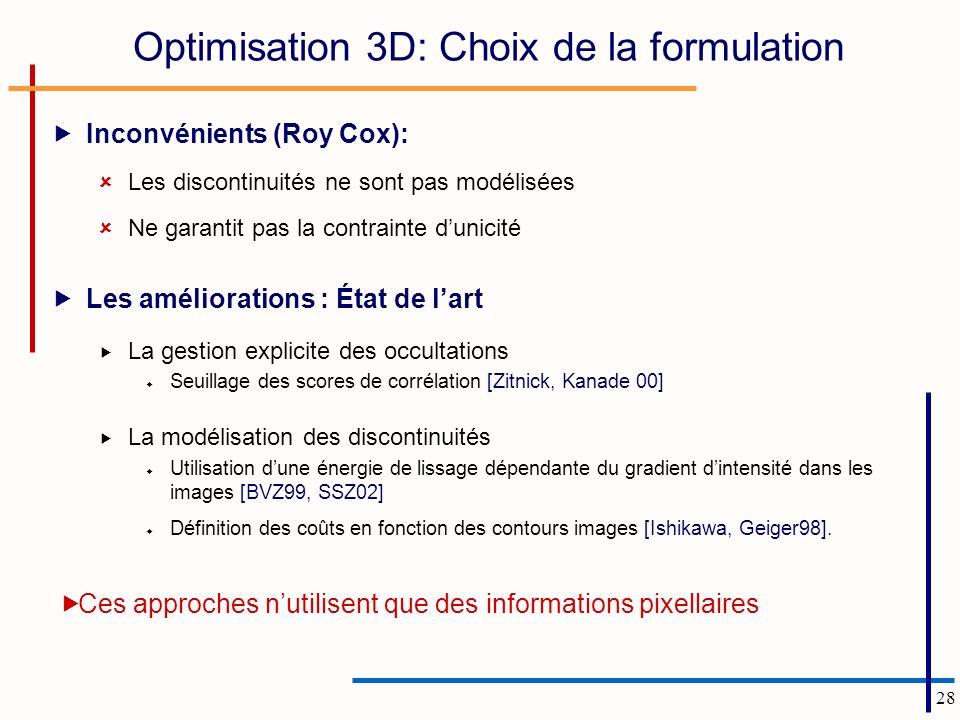 Optimisation 3D: Choix de la formulation