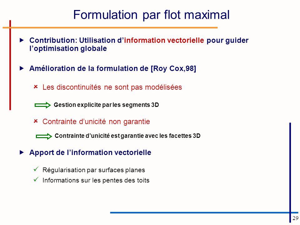 Formulation par flot maximal