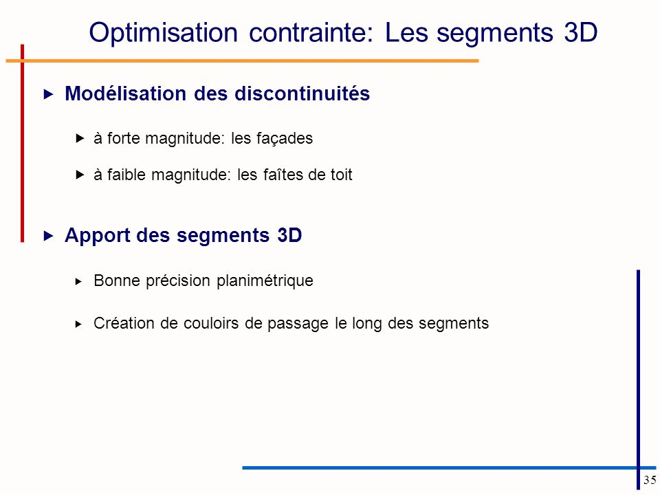 Optimisation contrainte: Les segments 3D