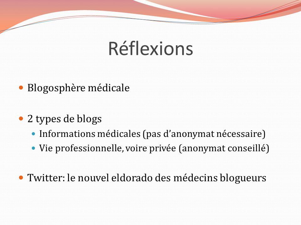 Réflexions Blogosphère médicale 2 types de blogs