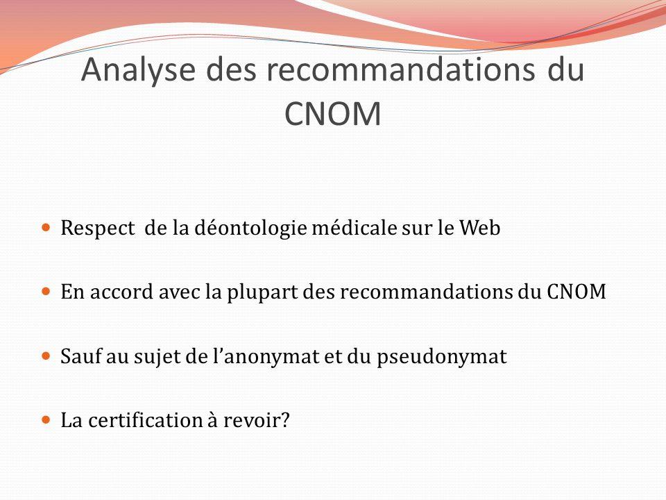 Analyse des recommandations du CNOM