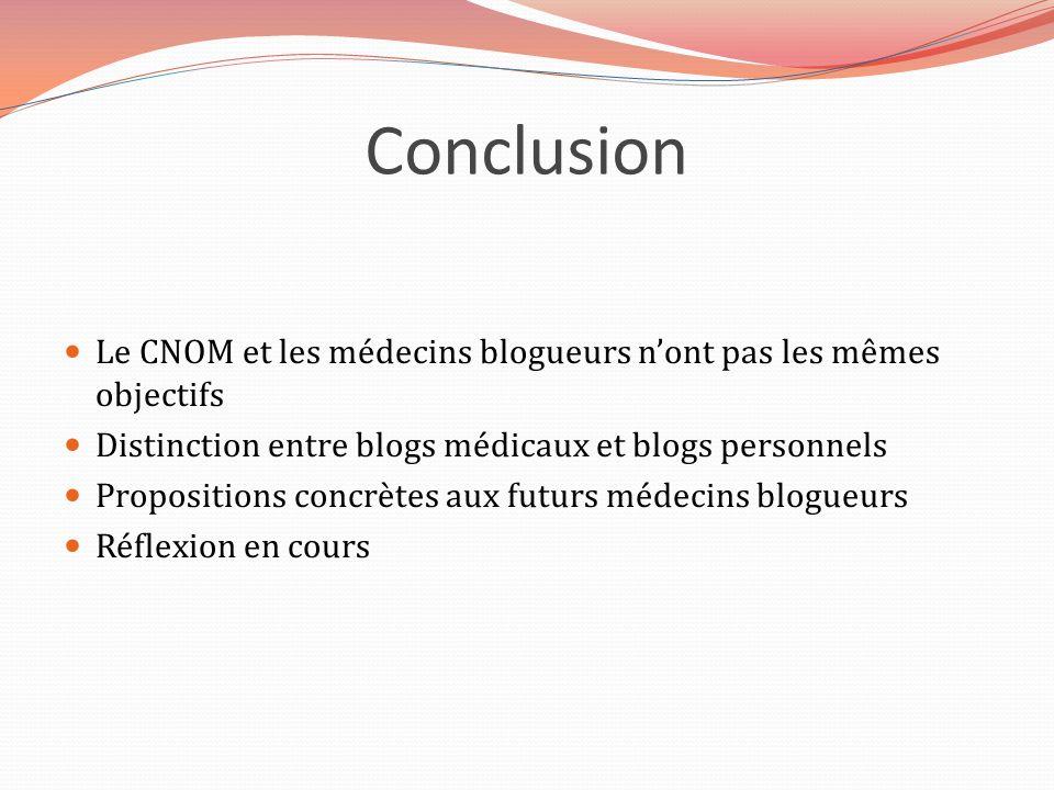 Conclusion Le CNOM et les médecins blogueurs n'ont pas les mêmes objectifs. Distinction entre blogs médicaux et blogs personnels.