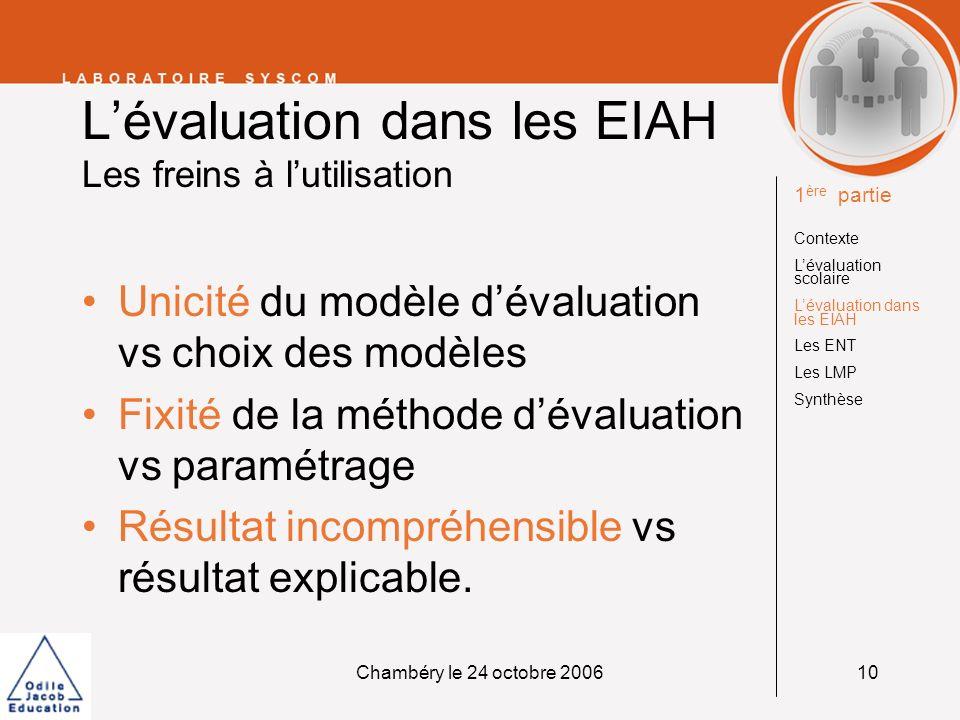 L'évaluation dans les EIAH Les freins à l'utilisation