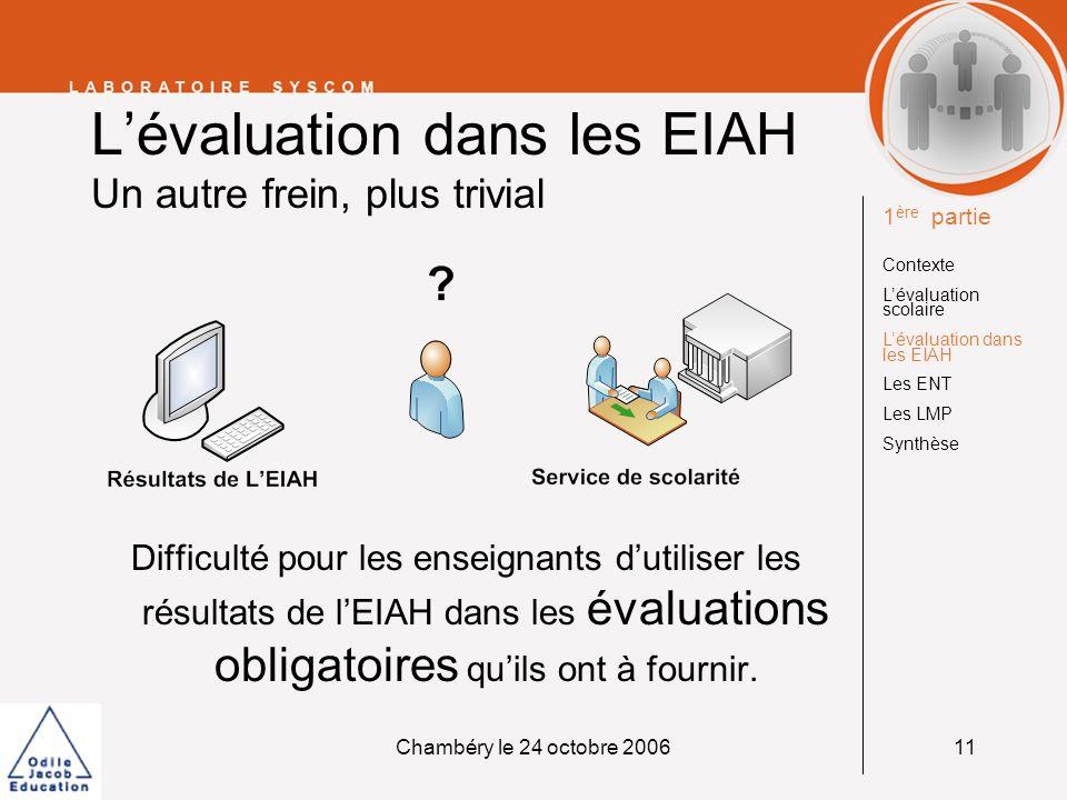 L'évaluation dans les EIAH Un autre frein, plus trivial