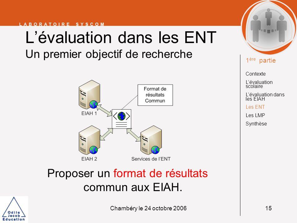 L'évaluation dans les ENT Un premier objectif de recherche