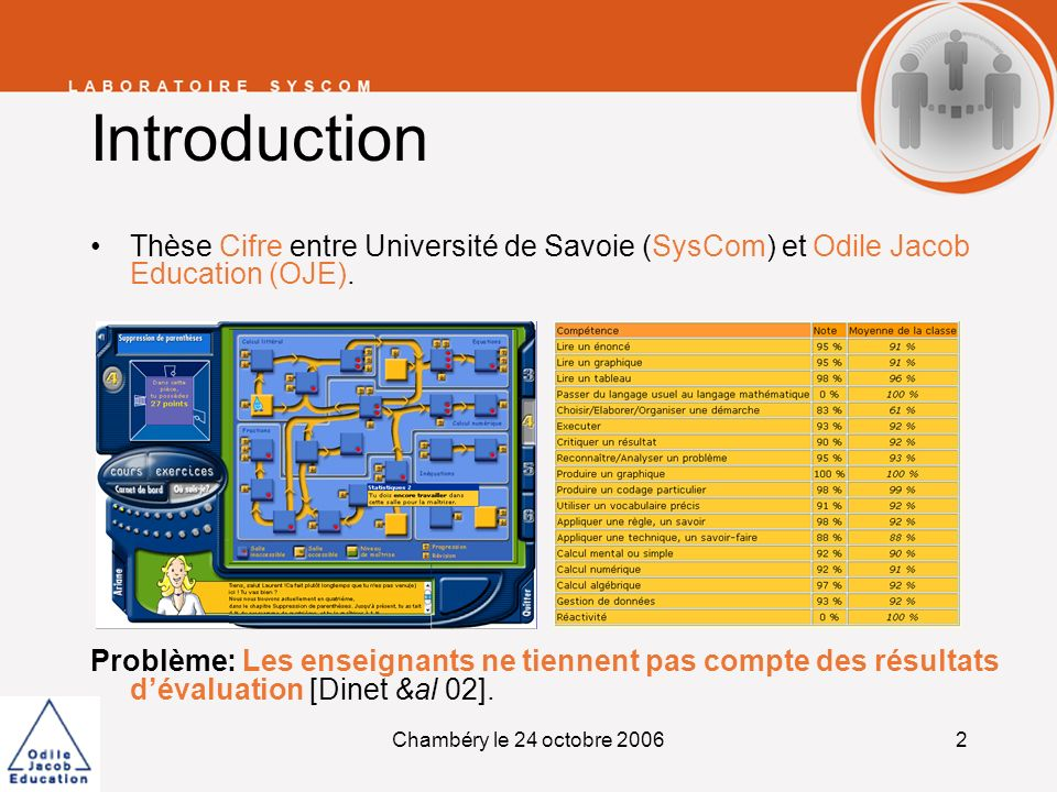 Introduction Thèse Cifre entre Université de Savoie (SysCom) et Odile Jacob Education (OJE).