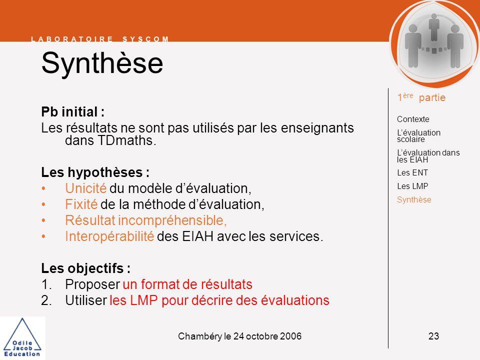 Synthèse1ère partie. Contexte. L'évaluation scolaire. L'évaluation dans les EIAH. Les ENT. Les LMP.