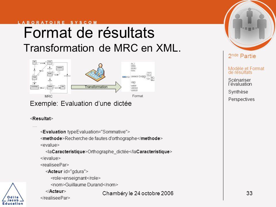 Format de résultats Transformation de MRC en XML.