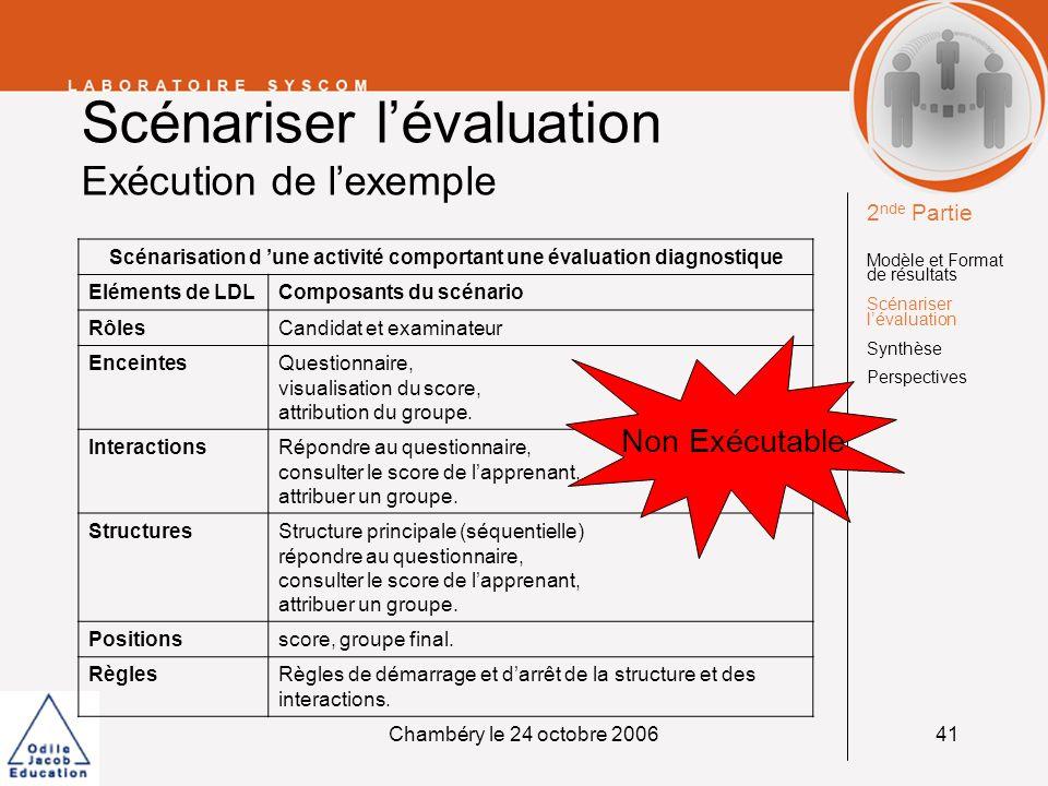 Scénariser l'évaluation Exécution de l'exemple