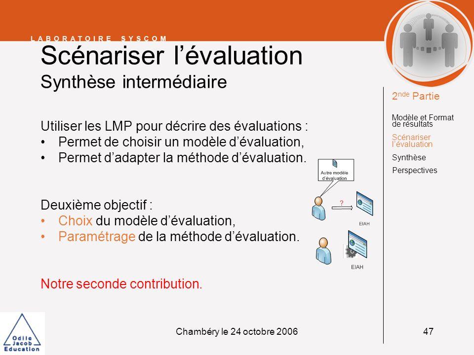 Scénariser l'évaluation Synthèse intermédiaire