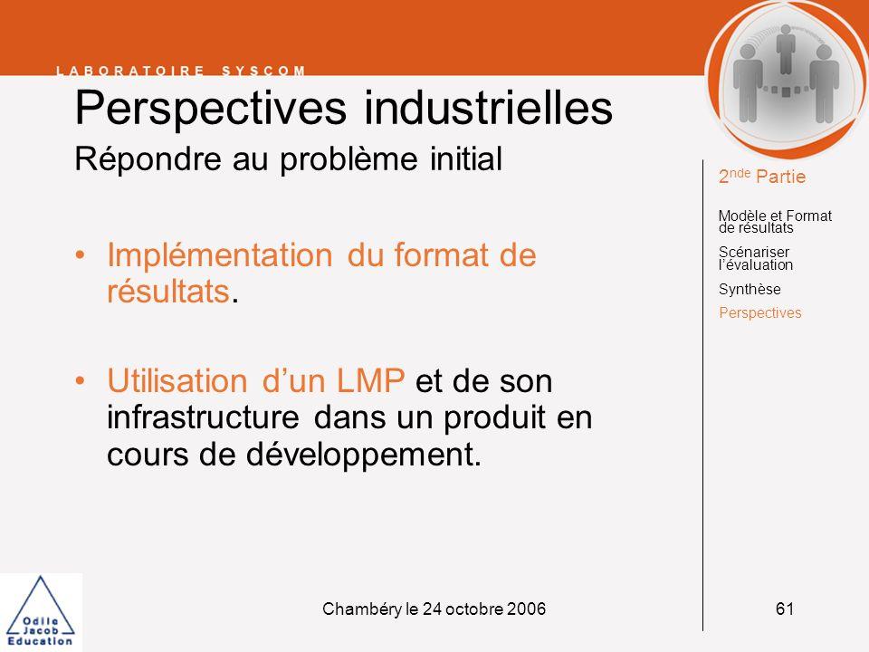 Perspectives industrielles Répondre au problème initial