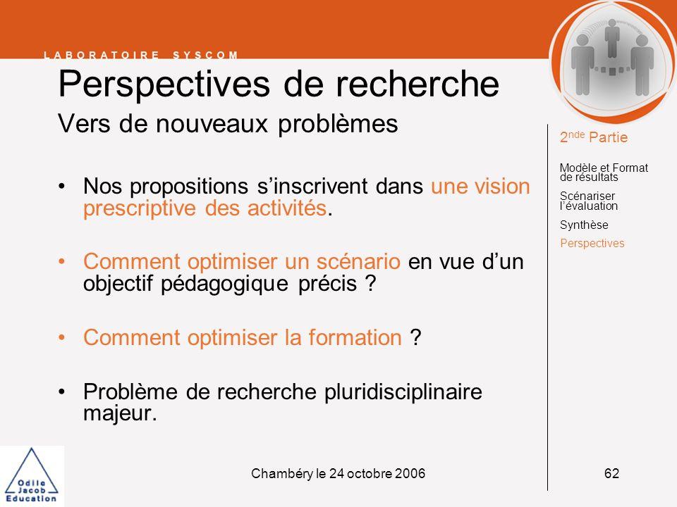 Perspectives de recherche Vers de nouveaux problèmes