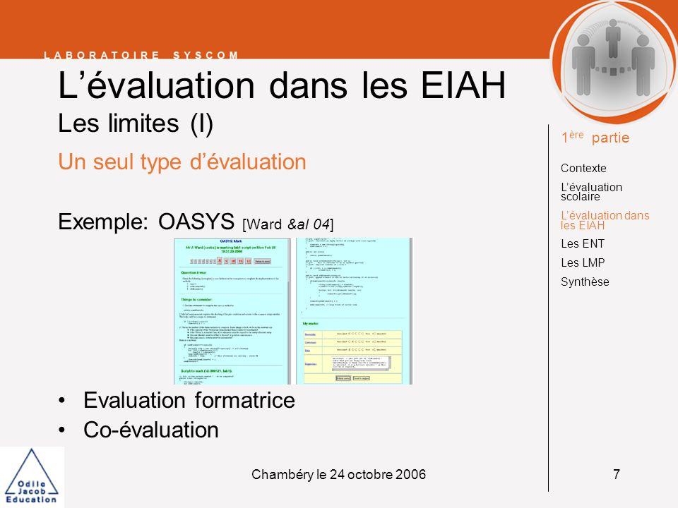 L'évaluation dans les EIAH Les limites (I)