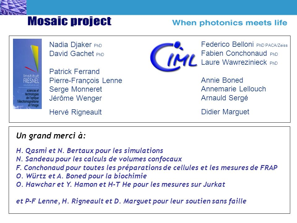 Un grand merci à: Nadia Djaker PhD Federico Belloni PhD PACA/Zeiss