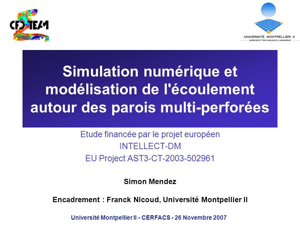 Simulation numérique et modélisation de l écoulement autour des parois multi-perforées