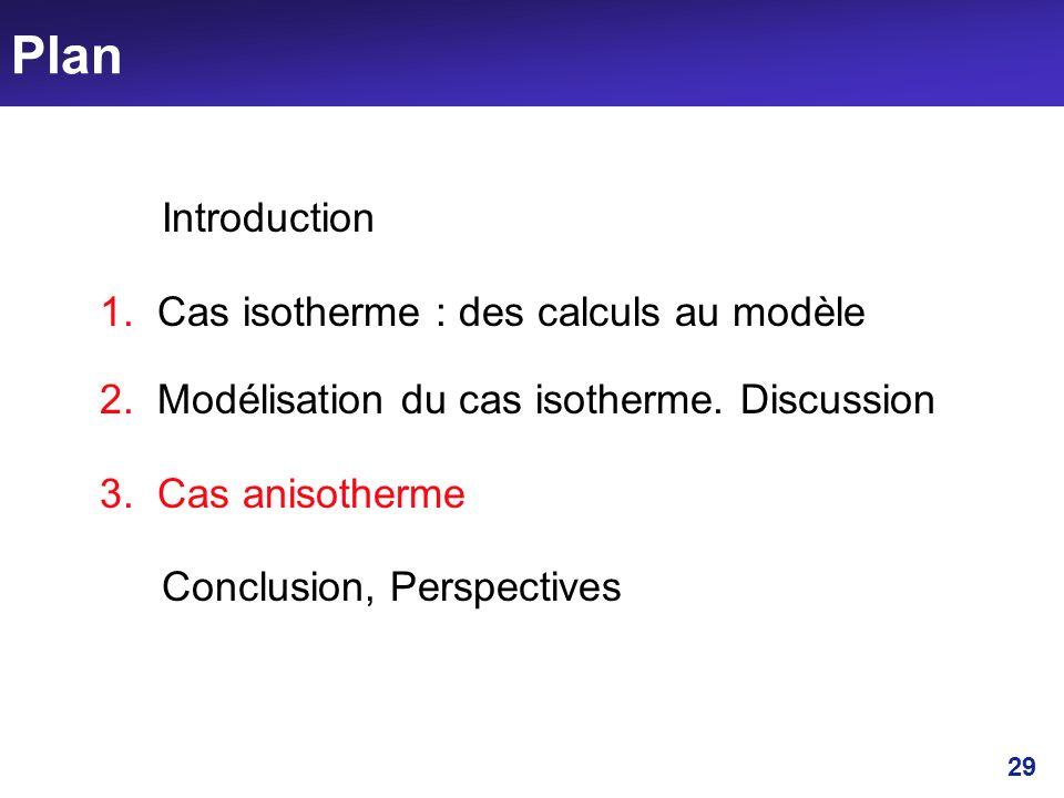 Plan Introduction 1. Cas isotherme : des calculs au modèle