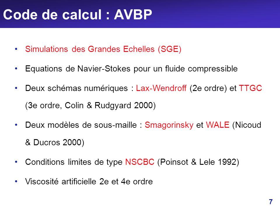 Code de calcul : AVBP Simulations des Grandes Echelles (SGE)