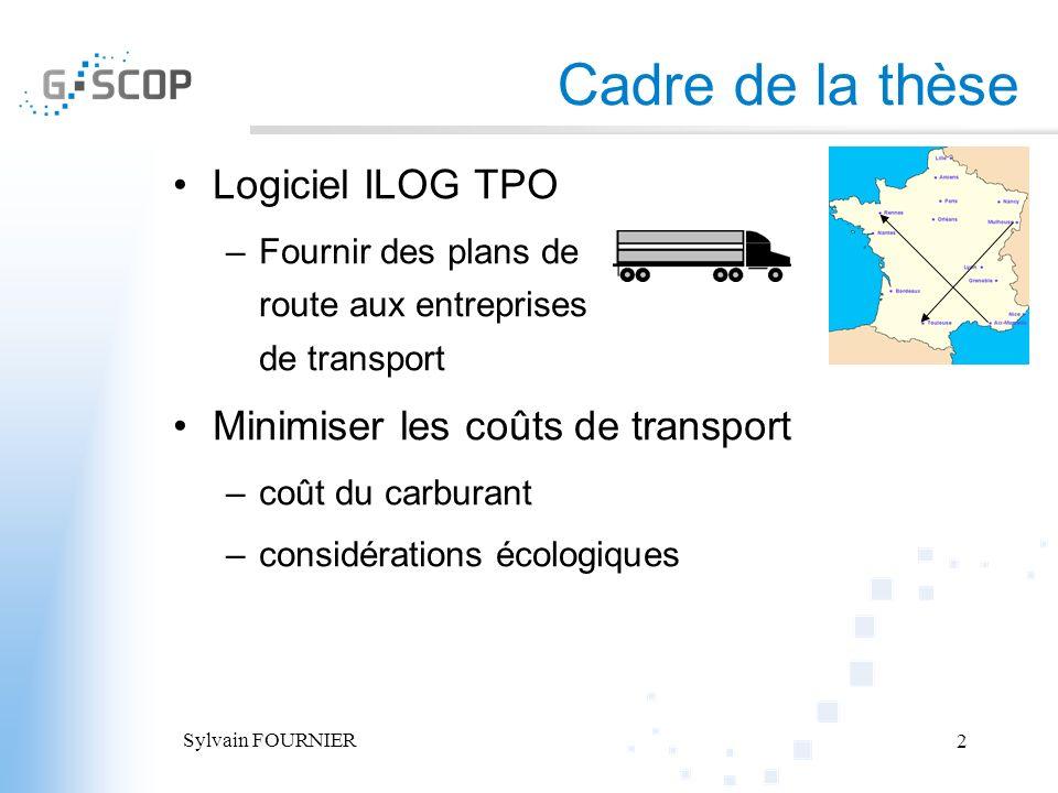 Cadre de la thèse Logiciel ILOG TPO Minimiser les coûts de transport