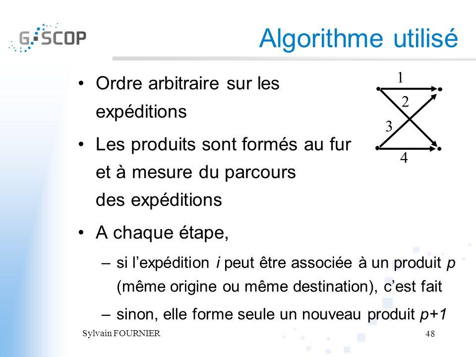 Algorithme utilisé Ordre arbitraire sur les expéditions