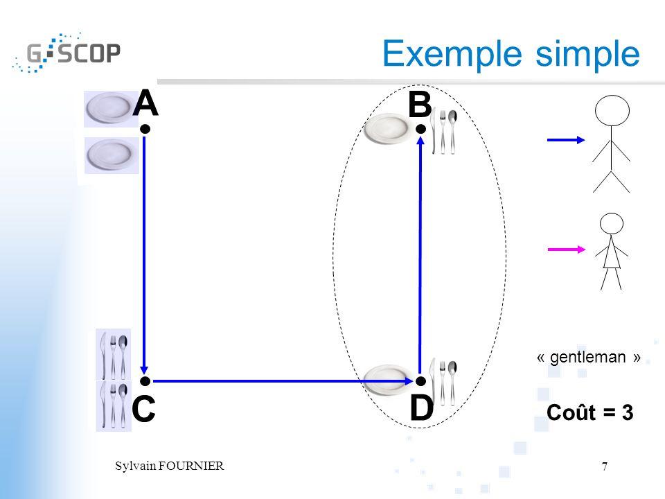 Exemple simple A B « gentleman » C D Coût = 3 Sylvain FOURNIER