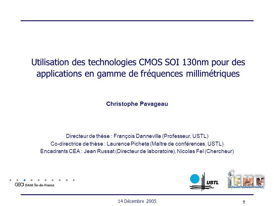 Directeur de thèse : François Danneville (Professeur, USTL)