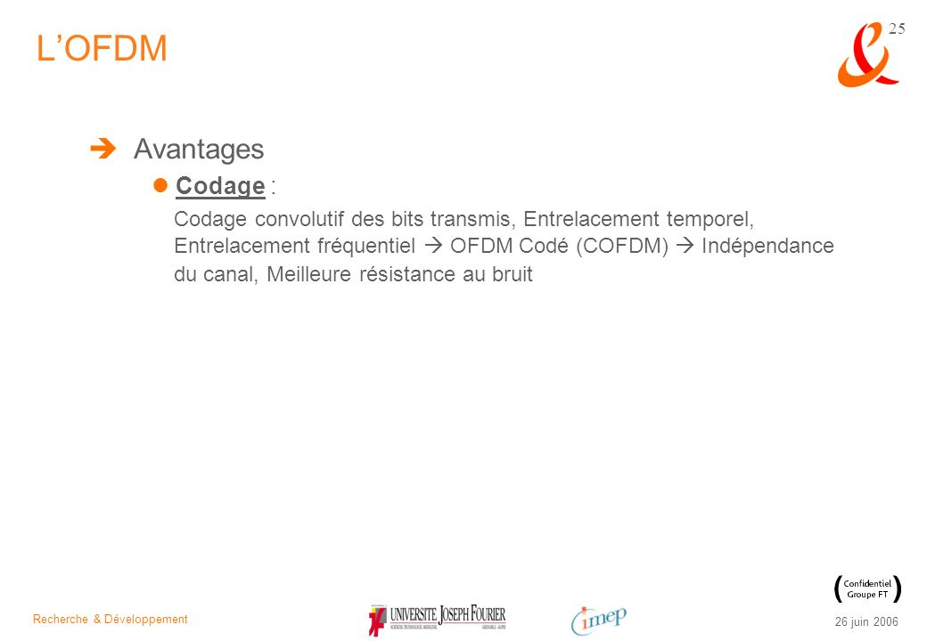 L'OFDM Avantages Codage :