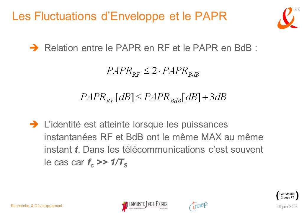 Les Fluctuations d'Enveloppe et le PAPR