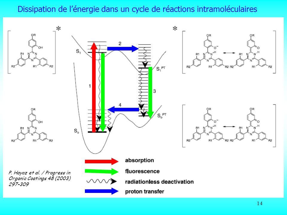 Dissipation de l'énergie dans un cycle de réactions intramoléculaires