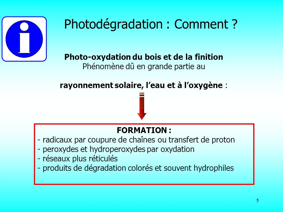 Photo-oxydation du bois et de la finition